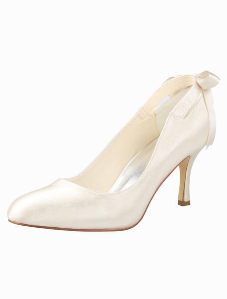 3 1/2\'\' High Heel Champagne Bow Satin Wedding Pump Shoes фото