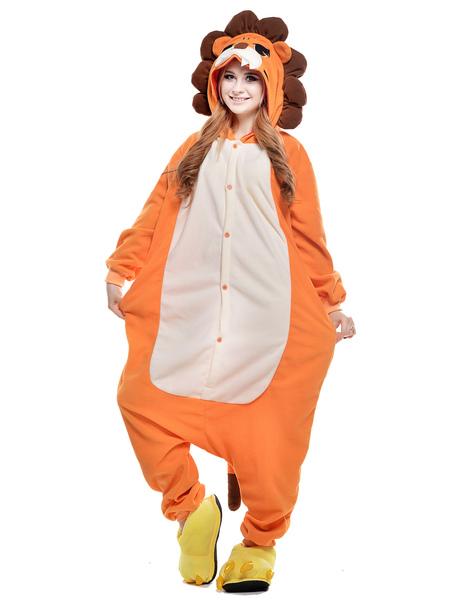Kigurumi Pajama Lion Onesie For Adult fleeceFlannel Yellow Animal Costume фото