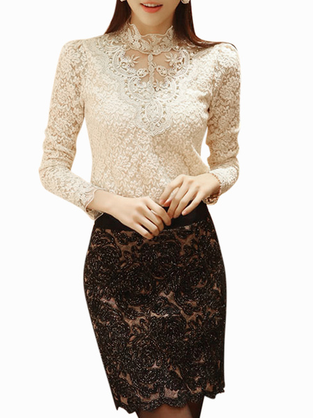Stylish Stand Collar Lace Blouse For Women фото
