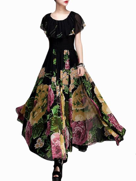 Printed Shaping Chiffon Jewel Neck Maxi Dress фото