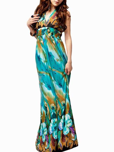 BoHo Floral Print Maxi Dress фото