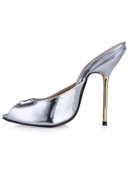 Beautiful Peep Toe PU Leather Stiletto Heel Mule Shoes For Woman фото