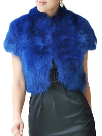 Blaue kurzärmelige Damen Pelzjacke aus Kunstfell