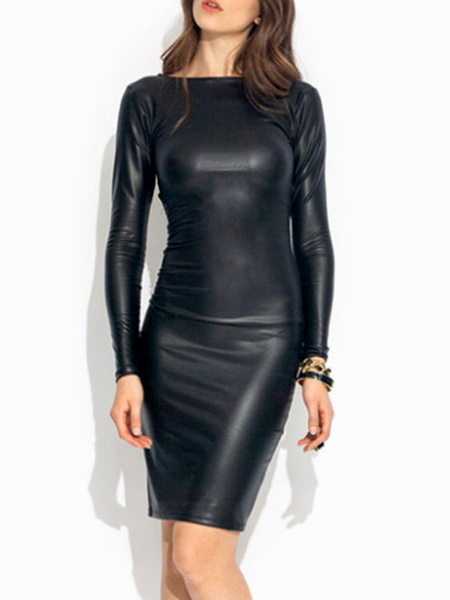 Sexy Bateau Neck Faux Leather Woman's Bodycon Dress With Cross Back фото