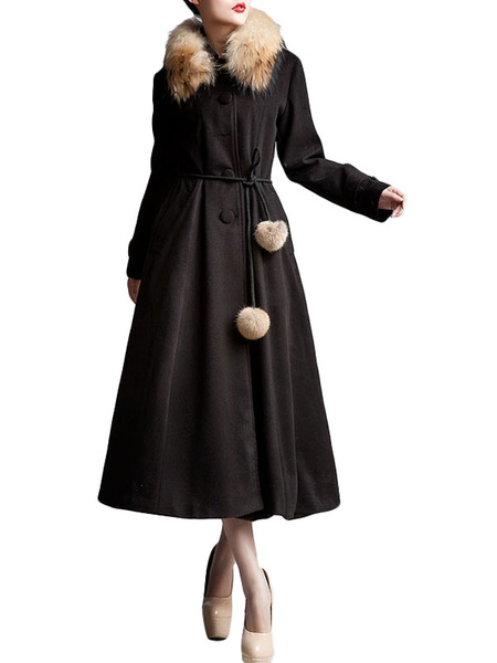 Black Front Button Wool Woman's Maxi Coat фото