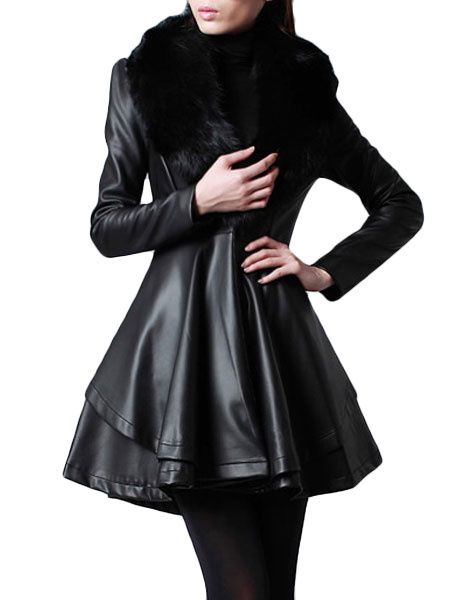 Black PU Leather Shaping Fabulous Coat for Woman фото