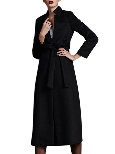Black Stand Collar Sash Long Sleeves Wool Blend Wrap Coat for Women фото