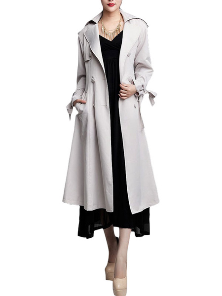 White Double-Breasted Sash Silk Woman's Trench Coat фото