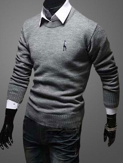 Crewneck Пуловер Свитер С Вышивкой Жирафа
