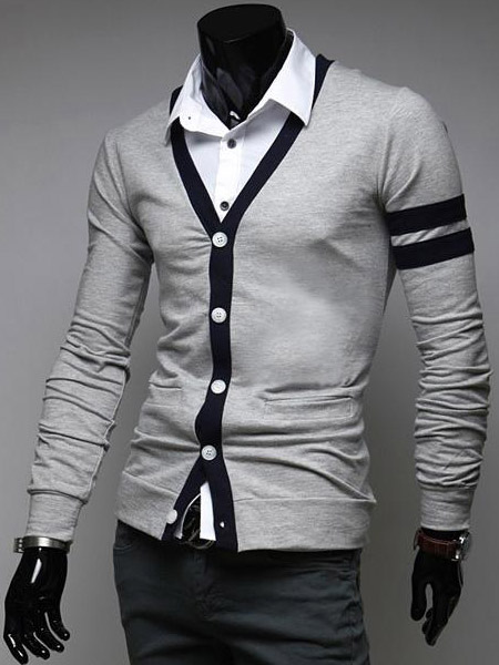 Piping Cotton Long Sleeves Unique Cardigan With V-neck For Men фото