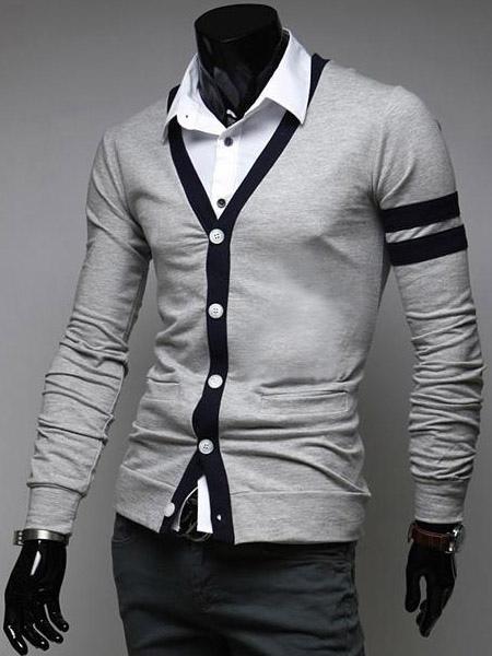 Окантовка хлопок с длинными рукавами уникальный кардиган с V-образным вырезом для мужчин