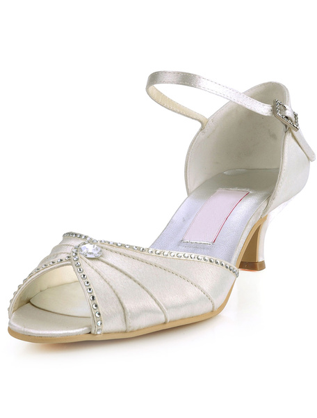 Pretty Beige Rhinestone Satin High Heel Wedding Shoes
