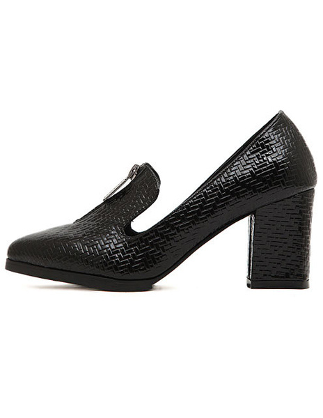 Black PU Leather Pointed Toe Chunky Heel Zipper Attractive Women's High Heels