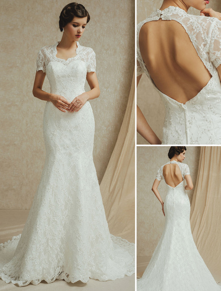 removable sweep wedding gown with sequined lace
