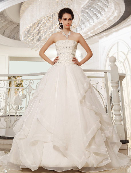 Chapel Train Ivory A-line Strapless Organza Bridal Wedding Gown with Tiered Milanoo фото