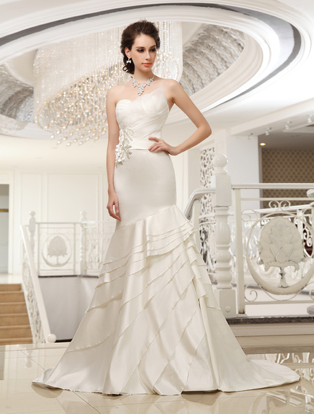Court Train Ivory Strapless Mermaid Strapless Wedding Dress For Bride with Tiered Milanoo фото