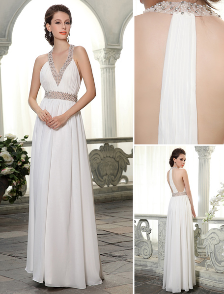Floor-Length Sheath V-Neck Beading Chiffon Ivory Bridal Wedding Dress Milanoo