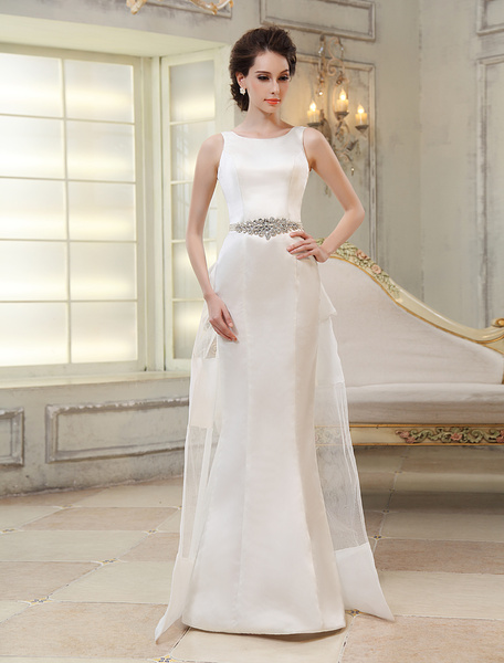 Sweep Ivory Jewel Neck Sheath Bridal Wedding Gown with Bow Milanoo фото