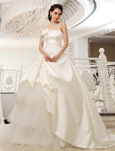 Sweep Strapless A-line Pleated Ivory Bridal Wedding Dress Milanoo