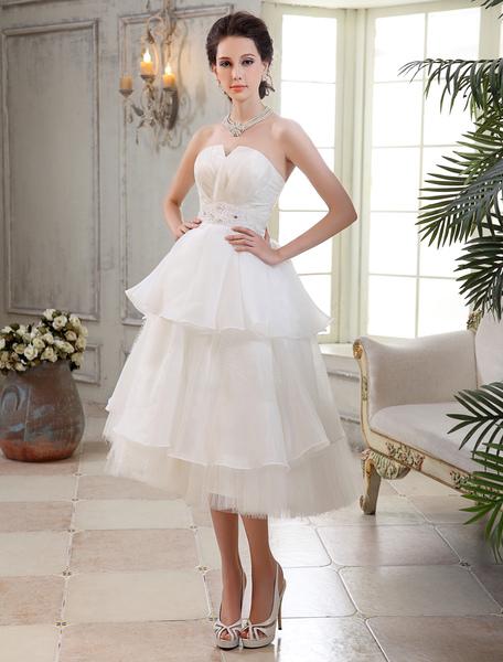 Tea-Length Multi Layer Beaded Brides Wedding Dress with Notch Collar Milanoo фото