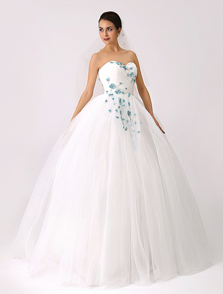 2017 Sweetheart Colored Ball Gown Wedding Dress with Flowers (Veil Included) Milanoo фото