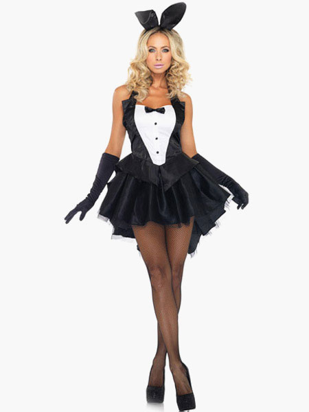 Black Polyester Alluring Bunny Costume Hammock Stylish Cosplay for Halloween фото