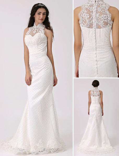 Vintage Inspired Illusion Neck Sheath/Column Wedding Dress with Lace Overlay Milanoo фото