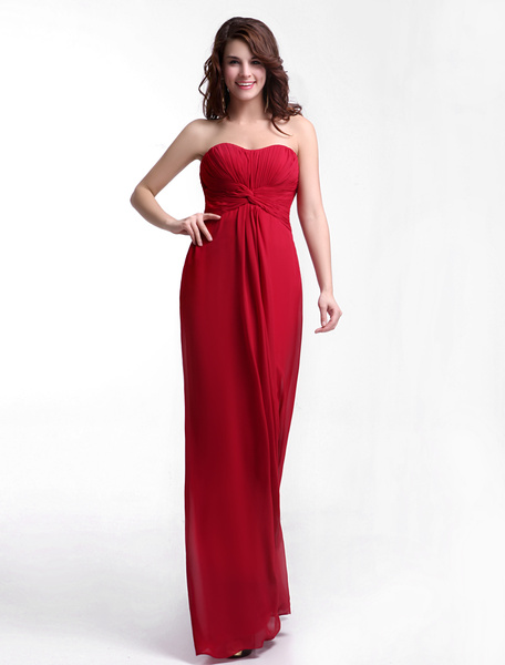 Pretty A-line Floor-Length Burgundy Chiffon Bridesmaid Dress with Sweetheart Neck Ruched Milanoo