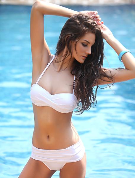 Ruched Knot Halter Bikini Swimwear фото