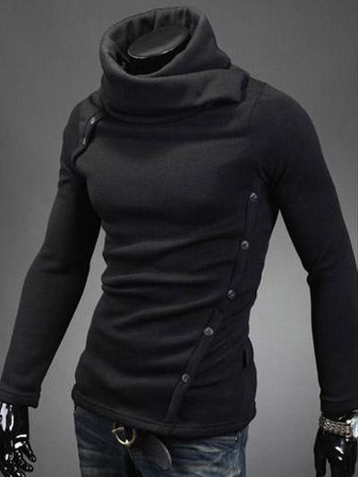 Мужская черный хлопок асимметричный балахон шикарный свитер