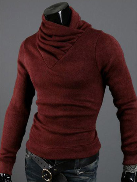 Quality High Collar Solid Color Cotton Pullover Knitwear For Men фото