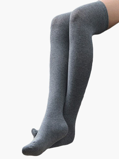 Light Gray Cotton Blend Tights фото