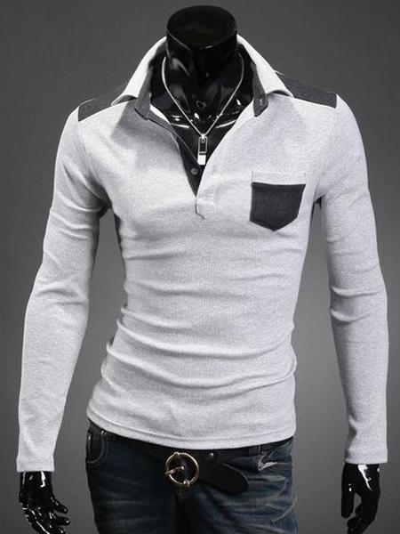 Умный хлопка двухцветная с длинными рукавами рубашки поло мужские с карманами