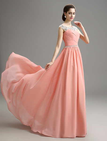 Blush Pink Evening Dress Beaded Chiffon Party Dress A Line Pleated Plus Size Prom Dress With Sweep T Milanoo