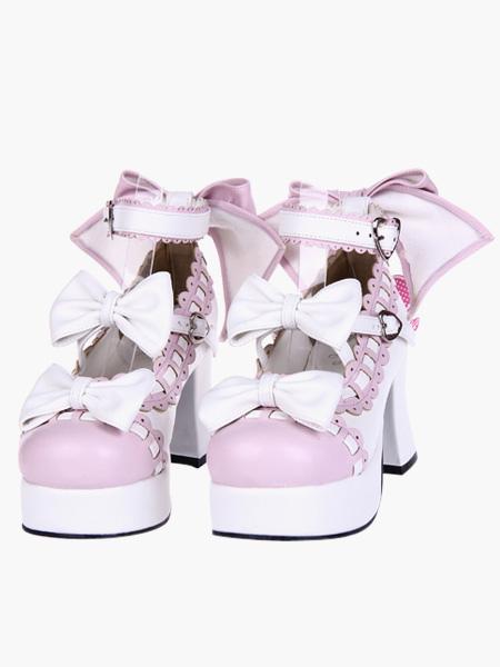 Sweet Lolita Chunky Heels Shoes Platform Ankle Strap Bows Decor фото