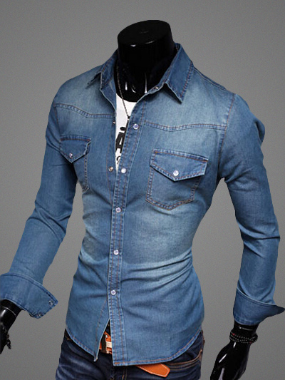 Shaping Demin Shirt With Pockets фото