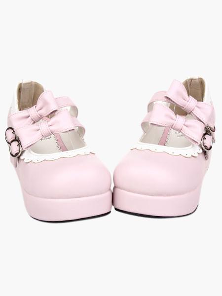Sweet Pink Lolita Platform Shoes White Trim Bows Buckles фото