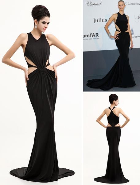 Polyester Mermaid-Abendkleid mit Halter und Cutouts in Schwarz
