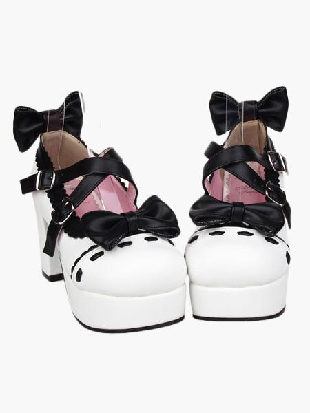 Glorious White High Heels Platform PU Womens Lolita Shoes фото