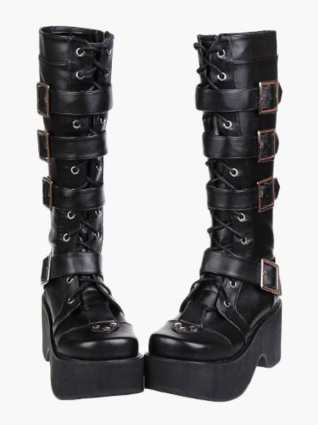 Gothic Black Lolita Boots Platform Shoes Buckles Shoelaces фото