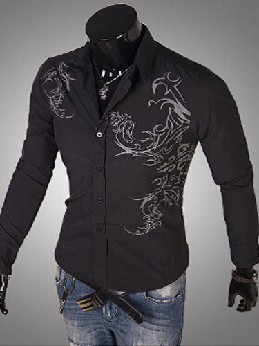 Long Sleeves Spread Neck Tattoo Print Casual Men's Shirts фото