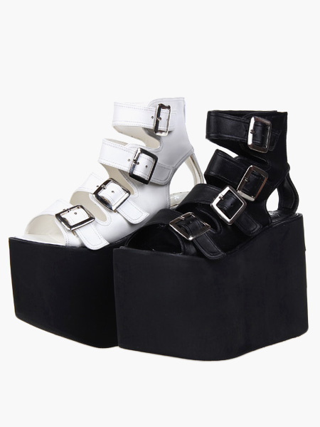 Lolita Sandals High Platform Shoes PU Leather with Buckles, Black