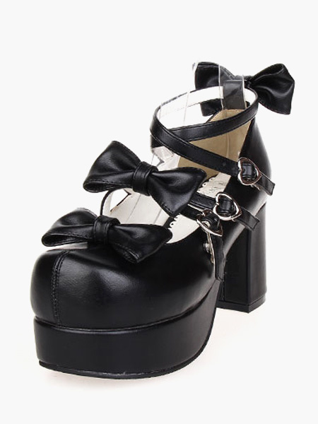 Stylish Black Bow PU Leather High( 3-3.9) Round Toe Lolita Shoes фото