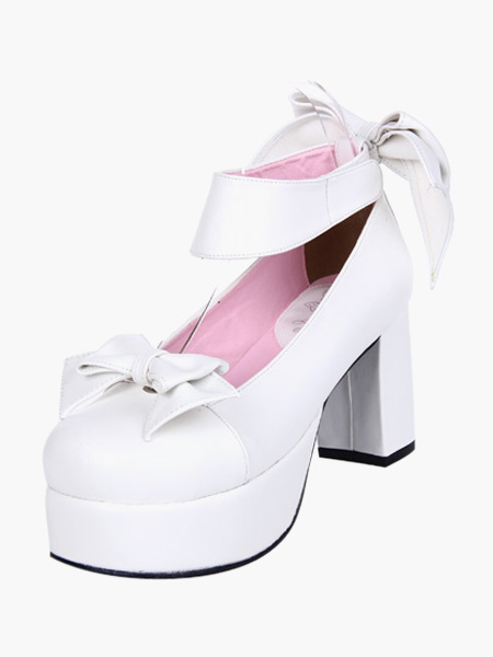 White Lolita Chunky Heels Shoes Platofrm Ankle Strap Bows Decor