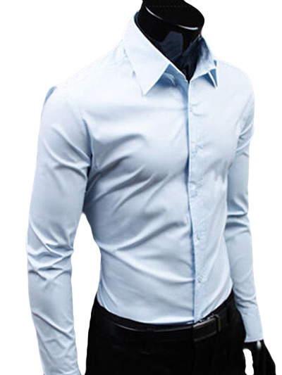 Spread Neck Shirt With Long Sleeves Milanoo