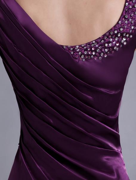 Lavender Evening Dress Satin Sleeveless Beading Mother 'S Dress Ruched Floor Length Long Prom Dress