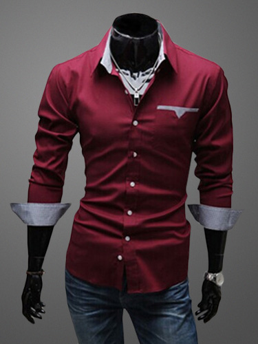 Turndown Collar Long Sleeves Cotton Blend Shirt фото