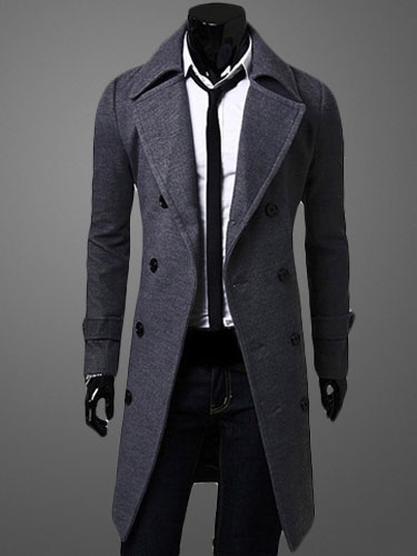 Image of Men Camel Peacoat Winter Trench Coat Turndown Collar Long Sleeve Double Breasted Long Coat