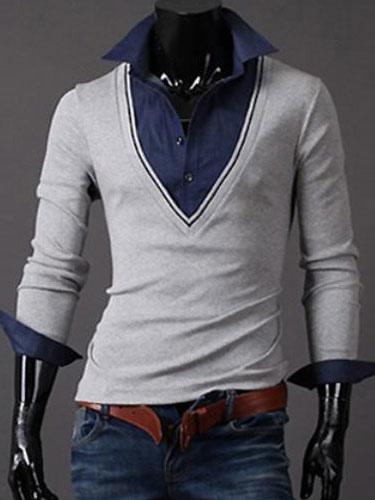 Поддельные 2-кусок рубашки поло с V-образным вырезом