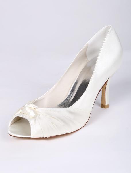 Beautiful Peep Toe Knotted Bridal Shoes фото